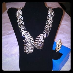 IMAN Global Chic Simply Gorgeous Jeweled Leaf Neck